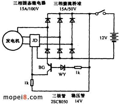 自制大排量摩托车的整流稳压器; 摩托车发动机电路图; 三端稳压器接